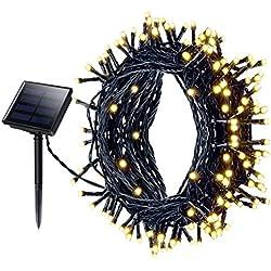 Cadena Solar de Luces,Guirnalda Luz LED Solar Mpow 22M 200 LED 8 Modos Iluminación Luces Impermeable Luces de la Navidad Luz para Jardín, Patio, Yarda, Árbol de Navidad, Fiesta,Boda