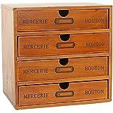 Baffect Boîte de Rangement de Bureau avec tiroirs en Bois 1 tiroir boîte à Bijoux Vintage boîte à Bijoux boîte en Bois boîte