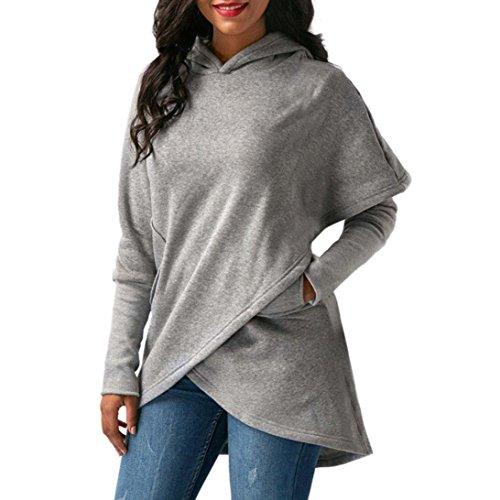 Outwear Damen Langarm Kapuzen Asymmetrische Saum Wrap Hoodie Sweatshirt Tops (Shark Reef)