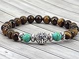 Armband für Männer Tigerauge Perlen und Rekonstitution türkis Perlen