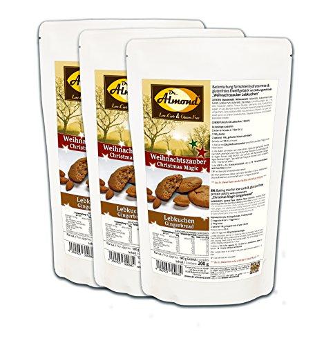 Dr. Almond Plätzchen Backmischung Weihnachtszauber LEBKUCHEN low-carb glutenfrei sojafrei keto (3er Pack) Zuckerfreie Kekse -