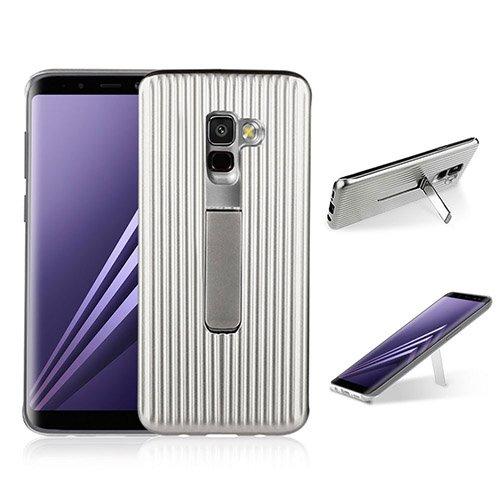 Preisvergleich Produktbild HengJun Für Samsung Galaxy A8 Fall,  TPU + PC-Deichsel Horizontal Vertikal Creative Design 2in1 Standhalterung Seismic Anti-Schock Doppel-Schutzhülle für Samsung Galaxy A8 - Silber