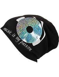 XL Jersey Beanie in schwarz mit Motiv Music is my Life - Handprintet in Germany