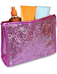 SHINE – Neceser impermeable con exterior de purpurina (20 x 15 x 6 cm) - Rosa