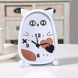 hemara children alarm clock analog battery operated animal themed cat white. Black Bedroom Furniture Sets. Home Design Ideas