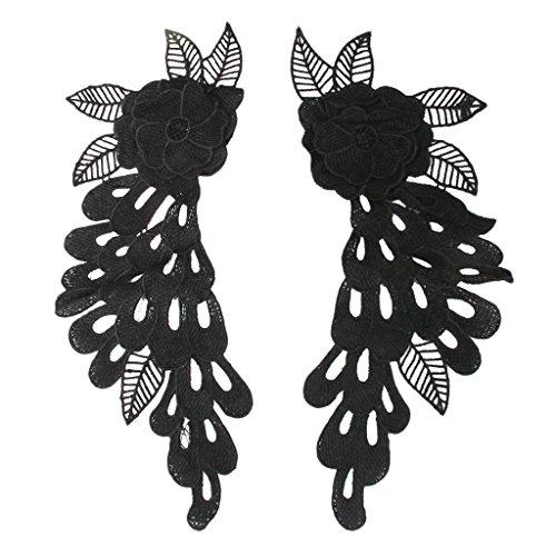Floral Vintage Dentelle Fleurs De Corsage Applique à Coutrue Motif Noir