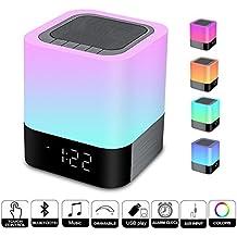 Touch Control lámpara de noche con Wireless Bluetooth altavoz, portátil Smart LED Touch Sensor mesa lámpara regulable RGB multicolor cambiando noche de luz, todo en 1 reloj despertador, reproductor de MP3, manos libres Bluetooth altavoz ligero toque lámpara humor iluminación lámpara de llama