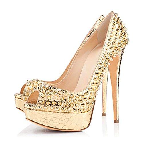 Damen Pumps Hohe Absatz Stiletto Peep Toe Rot Sohle Elegant Hohe Plateau Lady Schuhe Gold