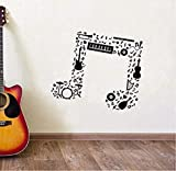 WENYAO Wandaufkleber für Wohnzimmer Musik Aufkleber Wandaufkleber Gitarre Saxophon Flöte Trommel Band Wandtattoo Music Notes Vinyl Wandkunst Wandbild Ay1246 65X57 cm