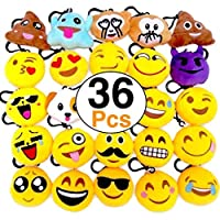 Monqiqi 36 Pack Emoji Keychains Mini Plush Pillows Key Ring for Birthday Event Party Favors Supplies