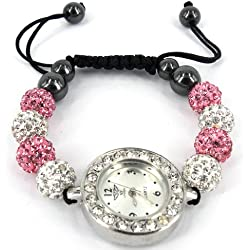 LADIES SPARKLING SHAMBALLA WATCH WHITE AND PINK CRYSTAL DISCO BALL BLING DIAMANTE BRACELETS SET