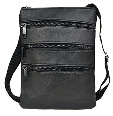 Sacoche / Pochette Plate / Tour de Cou - Cuir Agneau - Taille L - 3 zips - Idéal pour emporter le strict nécessaire (Pièce d'identité, Petit porte-monnaie, Téléphone etc)