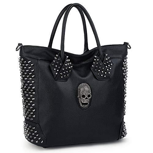 UTO Damen Schädel Tote Bag Rivet Studded Handtasche Pu-Leder Geldbörse Shopper Umhängetaschen - Single Strap Tote