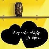 Ambiance-Live Sticker Tableau Noir Coeurs 20x37cm, Adhésif Ardoise Effaçable, Décoration MEMO pour Cuisine, Bureau et Chambre, to do List, Autocollant Mural Made in Europe