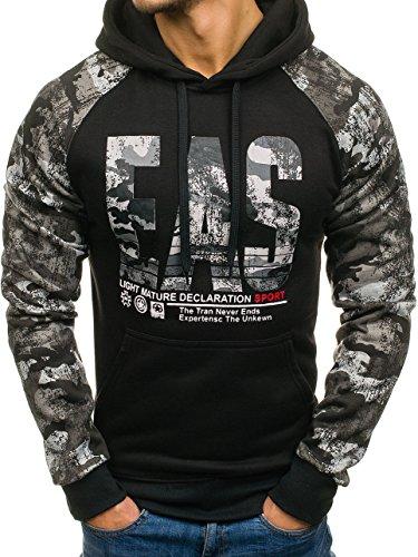 BOLF Herren Sweatshirt Pullover mit Kapuze mit Kordel Top AK72 Schwarz_DD47