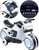 Playtastic Motorrad Kinder: Futuristisches Elektro-Kindermotorrad mit LED-Licht und MP3-Player