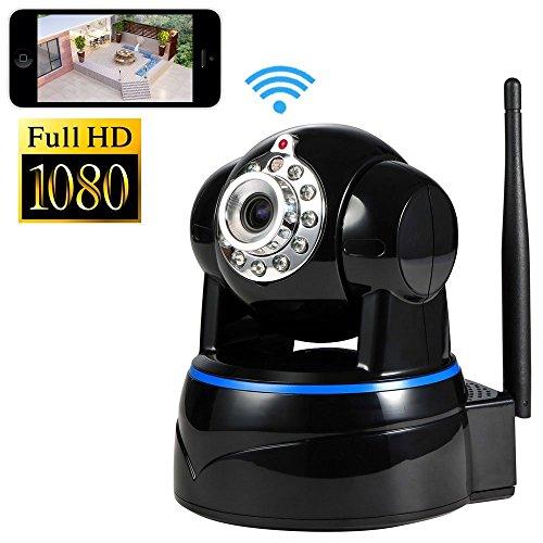 Minidiva® Indoor 1080P 2 Megapixel drahtlose WIFI IP-Überwachungskamera , Full-HD-Stecker / Wiedergabe Heimüberwachungskamera mit Schwenk-Neige, Nachtsicht , Zwei-Wege-Audio, SD-Karte bis zu 64 GB für Storage (schwarz)