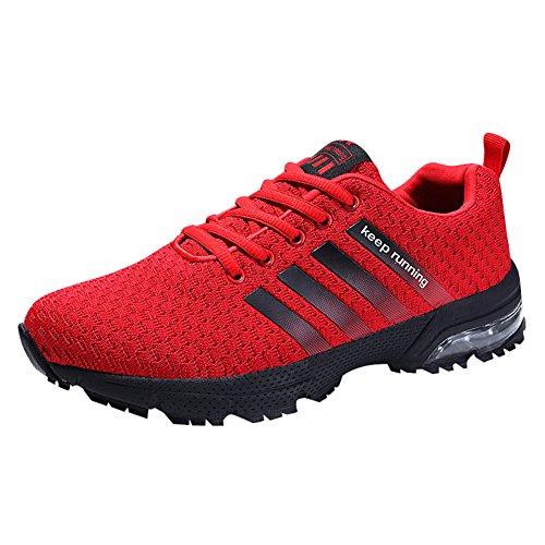 HMIYA Damen Herren Laufschuhe Sportschuhe Turnschuhe Trainers Running Fitness Atmungsaktiv Sneakers (44 EU, Rot)