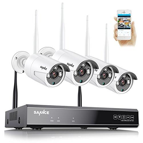 SANNCE 4CH 1080P Wlan Funk Videoüberwachung Überwachungskamera ohne Festplatte Überwachungsset WIFI NVR Rekorder mit 4x 720P IP Kameras Nachtsicht bis zu 20-30 Meter für innen und außen IP 66 wetterfest