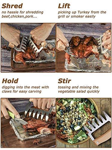 51KwBhUi%2BOL - Fleisch Krallen für Pulled Pork Meat Claws BBQ Gabeln Bärenkrallen Edelstahl mit Holzgriff [2 Stück] Langlebig & Scharfe, Geschwungene Gabeln zum Greifen, Zerkleinern & Reißen von Fleisch & Hühnchen