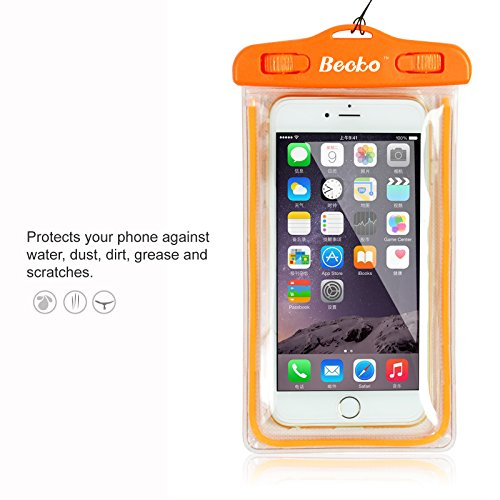 becko-orange-fluorescence-waterproof-case-touch-responsive-front-and-back-universal-waterproof-walle