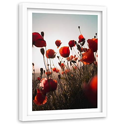 Tableau Cadre Blanc Coquelicots Impression Art Fleurs Prairie Nature Rouge 60x90 cm
