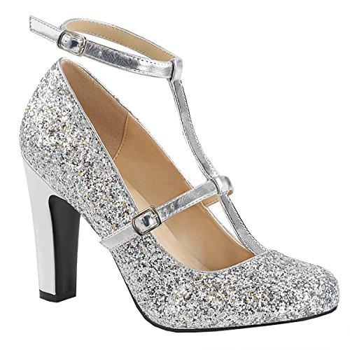 Higher-Heels Pink Label Glitter Queen-01 Silber Gr. 47 -