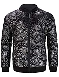 BUSIM Men's Long Sleeve Jacket Autumn Casual Hot Stamping Stand Collar Zipper Slim Baseball Suit Personality Jacket...