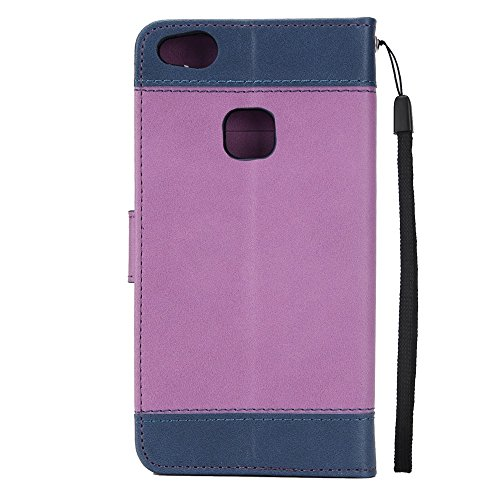 Dual Color Matching Premium PU Leder Flip Stand Case Cover mit Card Cash Slots und Lanyard für Huawei P10 Lite ( Color : Blue ) Purple