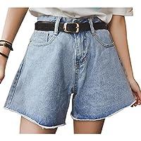 Juleya Mujer Pantalones cortos de mezclilla Cintura alta Pantalones anchos Suelto Pantalones casuales Pantalones al aire libre