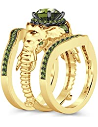 Silvernshine Milgrain Halo 9K YellowGold Plated 1.2Ct Round Green Peridot CZ Diamond Elephant Ring