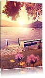 Steg im Sonnenuntergang Meer Urlaub Format: 120x80 cm auf Leinwand, XXL riesige Bilder fertig gerahmt mit Keilrahmen, Kunstdruck auf Wandbild mit Rahmen, günstiger als Gemälde oder Ölbild, kein Poster oder Plakat