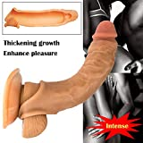 KOLY Preservativi riutilizzabili di preservativi pene preservativo prolunghe silicone super morbido Sesso Toys Uomini Sesso Orale Masturbazione Aeromobili Coppa Velivolo per Adulti (Marrone)
