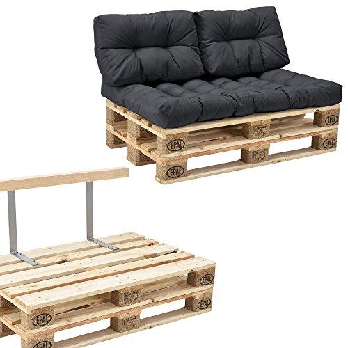 [en.casa]®] Sofá de palés - europalé de 2 plazas con Cojines - Gris Oscuro Set Completo, Incluido...