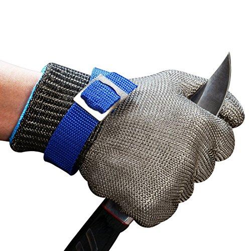 ConPush Guantes Anticorte Seguridad Corte prueba puñalada resistente acero inoxidable de malla...