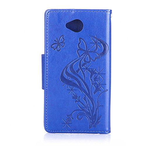 Custodia Microsoft Lumia 650 ISAKEN Cover Nokia N650 con Strap, Elegante borsa Farfalla Design in Pelle Sintetica Ecopelle PU Case Cover Protettiva Flip Portafoglio Case Cover Protezione Caso con Supp Diamnate farfalle : blu scuro