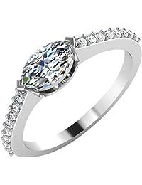 IskiUski White Gold And American Diamond Ring For Women - B075VHDHJR