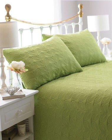 Grün reversibel Tagesdecke, gesteppt, Leaf geprägtes, inkl. 2Kissenhüllen, 240cm x 260cm, Doppelbett/King Size
