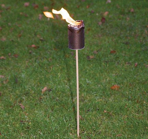 Gartenfackel -SET Feuerfackel mit Wachs & Stroh 5 Stück 75cm