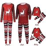 Riou Weihnachten Set Kinder Baby Kleidung Pullover Familie Pyjamas Nachtwäsche Outfits Set Schlafanzug PJS Homewear für Eltern Jungen Mädchen Spielanzug Unisex Home Kleidung Set (L, Mom)