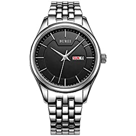 BUREI Women's Day and Date Calendar Precise Quartz Watch Wristwatch with Stainless Steel Bracelet