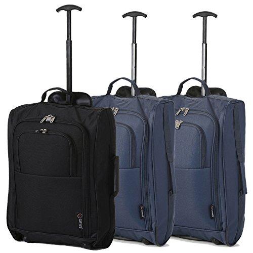 Lot de 3 Super léger de voyage bagages Cabine Valise Wheely Sacs Sac à Roulettes (Noir /2 x Marine)