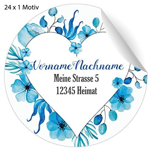 24 schöne, Custom Adress-Aufkleber im Blumen Herz hellblau, MATTE Papier Sticker mit ihrem Text nach Wunsch universal Etiketten, Namensschilder für Schule, Pakete, Briefe (4,5cm)