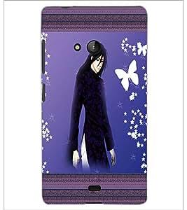 PrintDhaba Tensed Girl D-2488 Back Case Cover for MICROSOFT LUMIA 540 (Multi-Coloured)