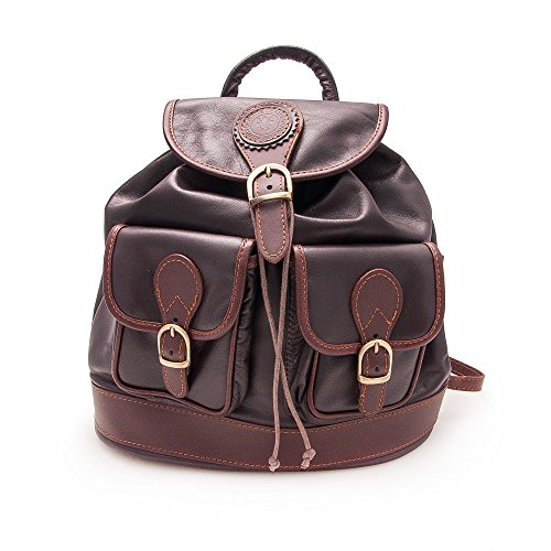 Zerimar Zaino in pelle stile casual con tasche multiple Misures: 28x24x14 cms Marrone