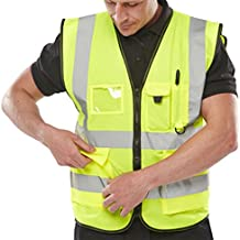Expert Workwear Hi VIS Executive Vest Waistcoat With Phone & ID Pockets Yellow Orange - 2 Two Tone
