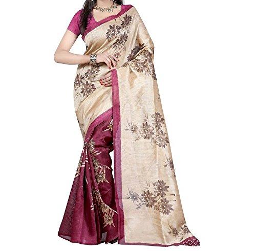 Summer Special new latest designe Red and Beige color Bhagalpuri silk saree...