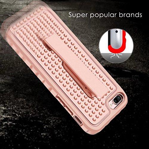 IPhone 7 Plus Case, Super Shockproof 3 In 1 PC Hard Case mit Clip für IPhone 7 Plus ( Color : Silver ) Pink