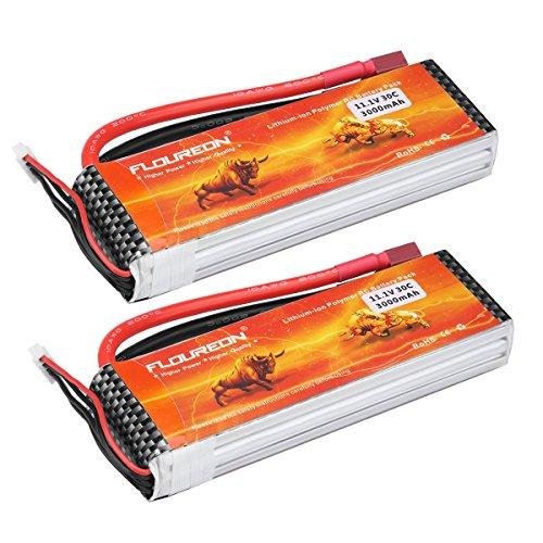 FLOUREON 3S 11.1V 3000mAh 30C Li-Polymer Batteria Ricaricabile con Spina Deans per RC Auto Elicottero Aereo Barca Quad FPV ECC(Pacchetto da 2)