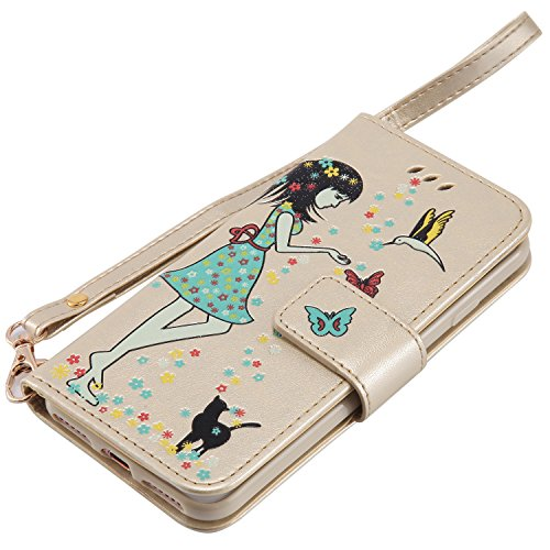 iPhone 7 Hülle Flip-Case Premium Kunstleder Tasche im Bookstyle Klapphülle mit Weiche Silikon Handyhalter Lederhülle für iPhone 7 (4,7 Zoll) Luminous Mädchen Katze case Hülle +Stöpsel Staubschutz (3) 4
